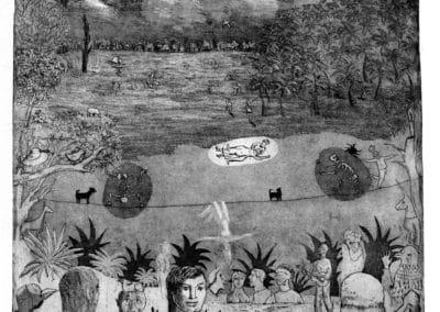 Acrobate entre deux rêves - gravure France Dumas