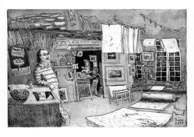 Chez Moret - gravure NB
