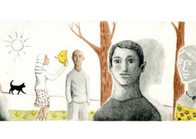 La femme et l'oiseau brun et jaune