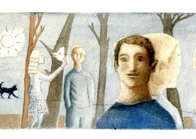 Masque et forêt - gravure France Dumas