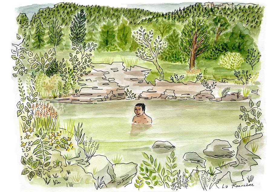 bain dans la rouvière