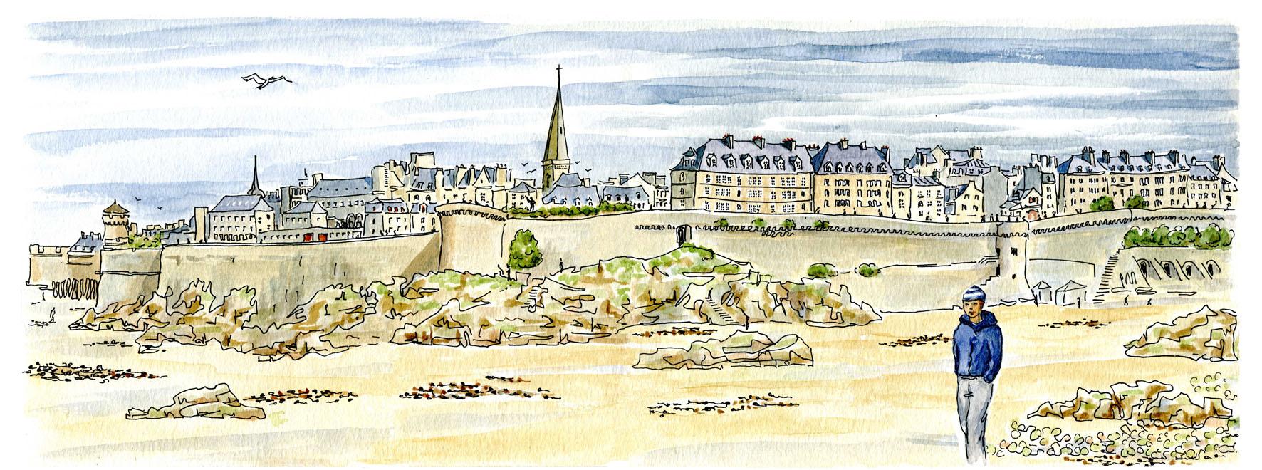 Saint Malo panorama - vue à marée basse 2 en hiver