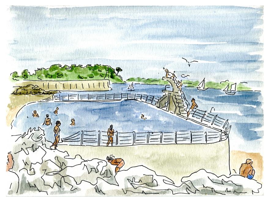 Saint Malo - plage du bon secours- piscine